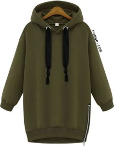 Hooded Zipper Loose Green Sweatshirt