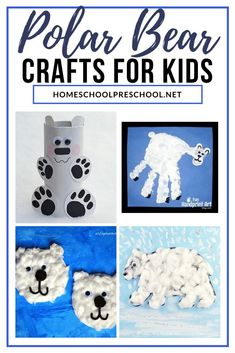 Winter is a great time of year to study polar bears with your little ones. When you do, add one or more of these polar bear crafts for preschoolers! Winter Activities For Kids, Winter Crafts For Kids, Preschool Winter, Bear Crafts, Animal Crafts, Kindergarten Crafts, Preschool Crafts, Kids Crafts, Cute Polar Bear