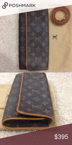 Authentic Louis Vuitton Pochette Twin GM Classic LV monogram pochette. Can be worn as a clutch or with a cross body shoulder strap. A few minor stains on the interior fabric, shown in final picture. Otherwise great condition! Dust bag included. Ask me about a bundle discount if purchasing with my LV card/key case listing! Louis Vuitton Bags