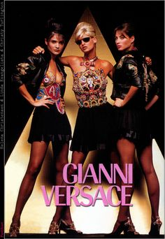 Cindy Crawford in 1987 Gianni Versace ad: Helena Christensen, Linda Evangelista and Christy Turlington in a Gianni Versace ad: Christy Turlington in a Gianni Versace ad: Claudia Schiffer in a 1994 Gianni Versace ad: Found at Image Amplified. Versace Fashion, 90s Fashion, Fashion Photo, Fashion Models, Vintage Fashion, Versace Clothing, Couture Fashion, Helena Christensen, Christy Turlington