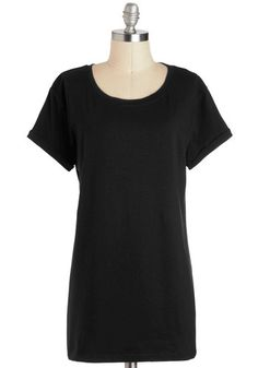 Simplicity on a Saturday Top in Black - Long, Jersey, Basic, Black, Solid, Casual, Short Sleeves, International Designer, Variation, Minimal, Knit, Scoop
