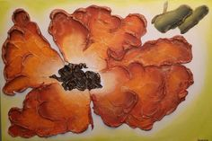 """Original Abstract Heavy Textured Acrylic Flower Painting on Canvas - Floral Acrylic Painting, Orange Blossom - Size: 36"""" x 24"""" x 1 1/2"""" #Abstract #FlowerPainting #Painting #Canvas #Acrylic"""
