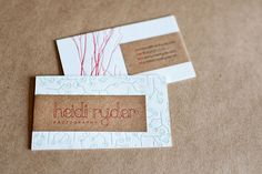 Heidi Ryder Photography Branding and Letterpress Business Card Design. cute card