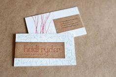 Heidi Ryder Photography Branding and Letterpress Business Card Design. cute card