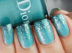 Teal Glitter Nails n