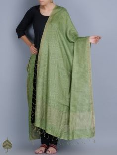 Green Handloom Silk Dupatta with Zari Border by Jaypore