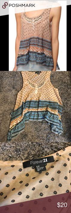 Forever 21 Embellished Tank Top Super cute Embellished shirt barely used and fringe. Forever 21 Tops Tank Tops