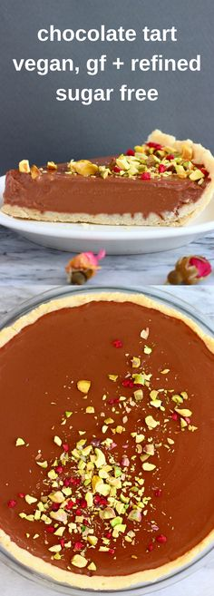 This Gluten-Free Vegan Chocolate Tart is crispy, buttery, indulgent and luxuriously creamy, and super easy to make! Refined sugar free and egg-free. #vegan #glutenfree #dairyfree #plantbased #chocolate #dessert