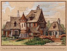 """Watercolor sketch for an early design idea based on simple """"French Country"""" vernacular architecture, perhaps from middle to Northern France, but with a barrel tile roof more common in Southern Fran..."""