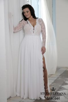 Marisel | Studio Levana | Plus Size Wedding Dress | Long Sleeve Lace Wedding Dress | Plus Size Bride | All My Heart Bridal