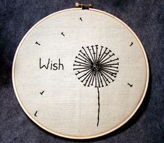 Hand Embroidered Dandelion Wish 8inch Embroidery by Blakeswork