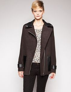 Charcoal leather trim jacket - cheap version of that Maje coat I've been salivating over.  Done and done.