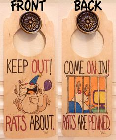 Rat Doorhanger Sign by RatrixShop....This sign will definitely keep the door to door salesmen away !
