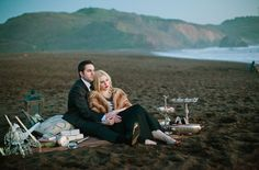Coolest engagement pic ever...precisely the reason I need my own fur coat lol