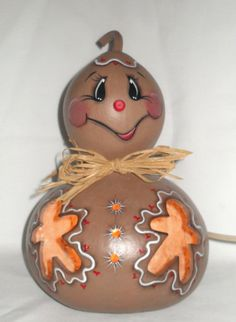 Gingerbread Man Light Up Gourd  Hand Painted by FromGramsHouse,