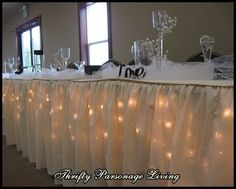 Thrifty Parsonage Living: Thrifty Solution for Wedding Table Skirt