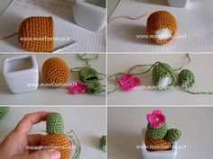 Piante grasse uncinetto in miniatura schemi e spiegazioni - manifantasia Sunburst Granny Square, Creative Food Art, Crochet Crafts, Cactus Plants, Crochet Earrings, Projects To Try, Objects, Embroidery, Knitting