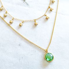 7f9d108fd9f3 925 Silver gold plated necklace with green crystal charm