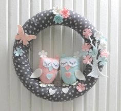 Cute Owls and Flower Tree, Floral Butterfly, Pastel Colors, For Twin Baby Girl Door Wreath, Gray-White Polka Dots from sesideco on Etsy. Saved to Home,.