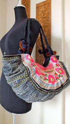 Hmong Ethnic handmade bag vintage style work beautiful silk stitching and Indigo. $44.99, via Etsy.