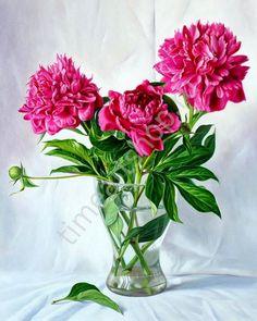 Садовые пионы, картина раскраска по номерам, размер 4050 см, цена 750 руб.