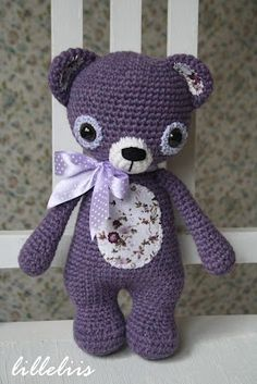 Lavender Teddy bear - amigurumi. Probably in another color though with some boy fabric! Lol