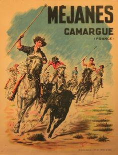 Mejanes Camargue, 1950s - original vintage poster by Henry Couve listed on AntikBar.co.uk #france #PACA #provencal #camargue #tourismepaca #tourismpaca #travel #vintage #poster