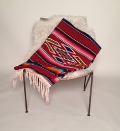 Mexican serape saltillo blanket, rare 1920's vintage large blood red on Etsy, $375.00