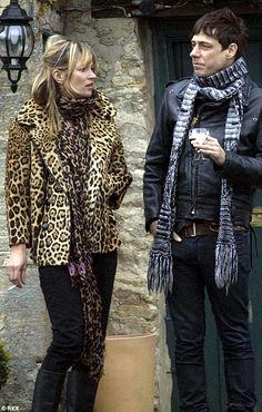 Kate Moss in Louis Vuitton leopard scarf & vintage leopard coat.