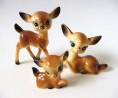 Plastic Deer Figurines Vintage Reindeer  Retro by VintageByJade