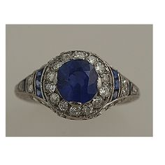 Art Deco. Sapphire and Diamond Ring.