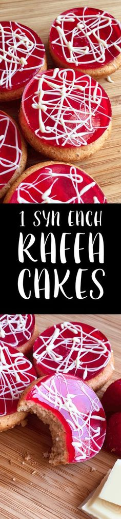 Each 'Raffa' Cakes sugar instead of sinkin Eggs 4 tbsp Sukrin Gold 50 g Self Raising Flour for 8 syns 1 tsp Vanilla Extract Sugar Free Raspberry Jelly Crystals for 1 syn 10 g White chocolate Slimming World Sweets, Slimming World Puddings, Slimming World Recipes Syn Free, Slimming World Syns, Slimming Eats, Healthy Cake, Healthy Sweets, Healthy Snacks, Healthy Nutrition