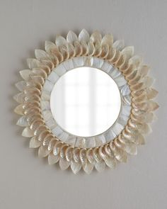 White Shell Floral Mirror at Horchow.