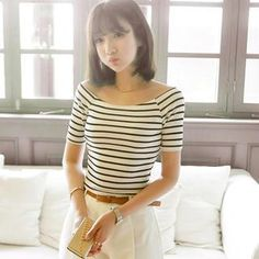Off-Shoulder Stripe Top from #YesStyle