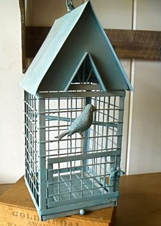 French Country Large Blue Bird Cage- Great for shop display, wedding ...
