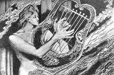 Apollo na Olimpie (Apollo grający harmonię sprzeczności) 1897 (?). Rys. ołówkiem. 21 x 24 cm.