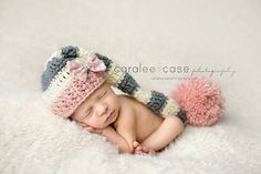 Elf Hat in Pink Cream and Grey with a detachable by craftnikki, $32.00