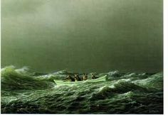 Sailors, Michael Sowa.   Love the look of the sky and stormy waves ~ the dogs in the boat is a whimsical bonus!
