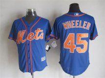 New York Mets #45 Zack Wheeler Alternate Blue With Orange 2015 M