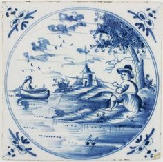 Antique Delft tile in blue with a fisherman in a lovely Dutch landscape, 18th century
