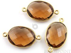 Natural Whisky Topaz Oval Connector 24K Gold Vermeil by Beadspoint, $7.99