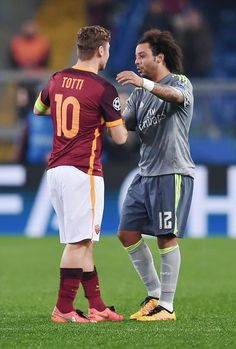 Marcelo congratulated by Francesco Totti at the end of the UEFA Champions League football match AS Roma vs Real Madrid on Frebruary 17, 2016 at the Olympic stadium in Rome. Real Madrid won 0- 2.
