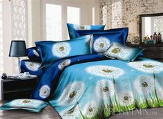 US$118.99 Aesthete White Dandelion 4 Piece Printed Bedding Sets with Cotton. #3D #Bedding #Dandelion #with