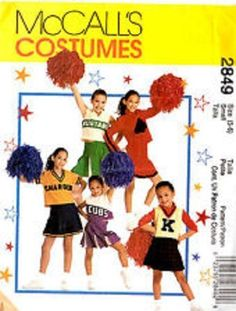 2000 Girls' Cheer Leader Costume XL 12-14 Pattern McCall's 2849 OOP #McCalls