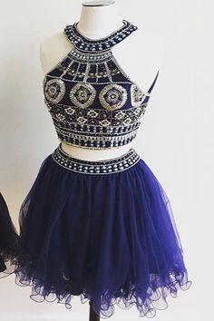 Halter Two Pieces Short Prom Dress Homecoming Dress E9 – Simibridaldress