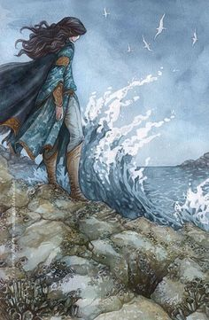 ocean, blue cape, cloak, rocks, loose brown hair, brown boots