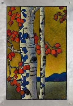 Artwork by Jerri Lisk Arts And Crafts Movement, Silk Painting, Tree Art, Landscape Art, Painting Inspiration, Stencil, Printmaking, Art Nouveau, Art Projects