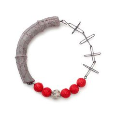 Artist: Myung Urso   Combination neckpiece: Hand-dyed cotton, Hanji (Korean mulberry paper), thread, sterling silver, lacquer