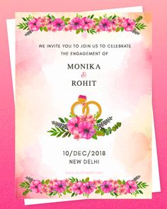 Looking for some creative wedding invitation designs ? Check out best Wedding invitations designs for WhatsApp Invites and printed wedding invitations. Engagement Invitation Card Maker, Marriage Invitation Card, Indian Wedding Invitation Cards, Wedding Invitation Video, Creative Wedding Invitations, Wedding Invitations Online, Engagement Cards, Wedding Invitation Templates, Invites