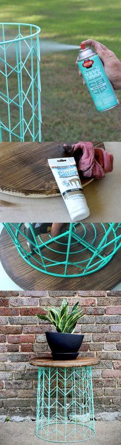 Mesa DIY con cesta de alambre - Tu casa bella